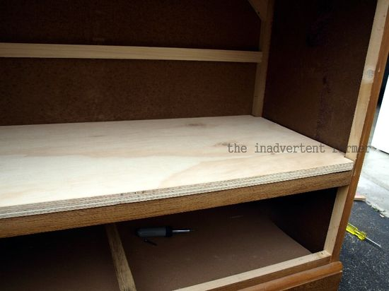 Credenza unfinished shelf