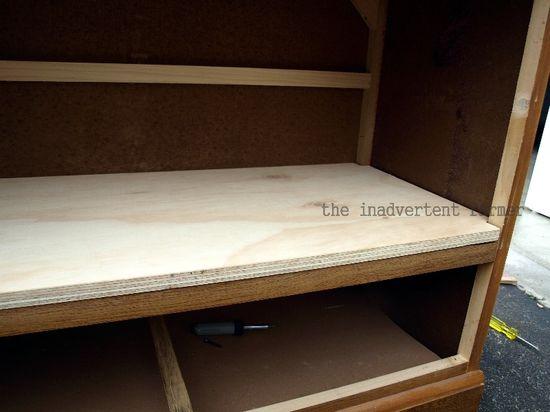 Credenza unfinished shelf