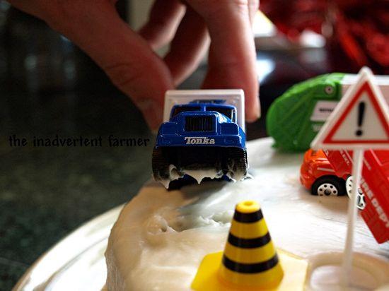 Birthday car cake wreck wheelie