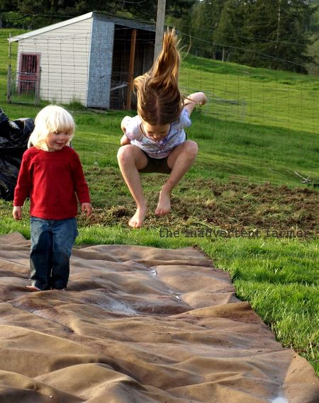 Little kids jump girl hair garden