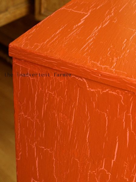 Toy cabinet orange crackle over pink