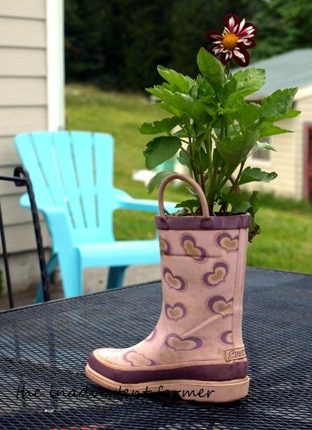 Pink boot planter