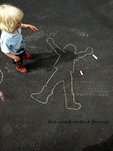 Sidewalk chalk outline boy1