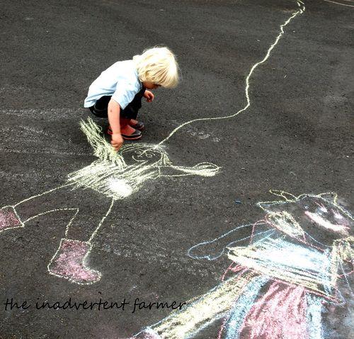 Sidewalk chalk spaghetti