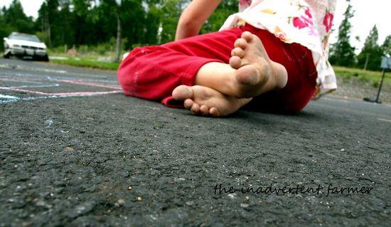Sidewalk chalk dirty feet