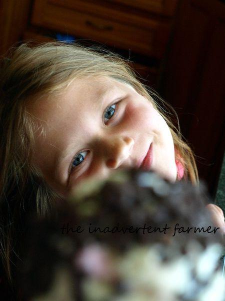 Ice cream cone girl blue eyes