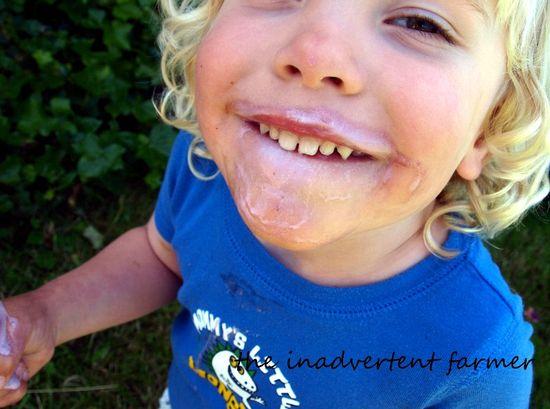 Ice cream cone messy face