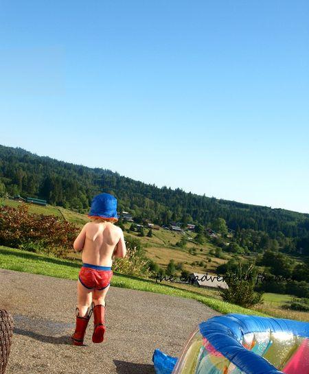 Boy pool hat under summer