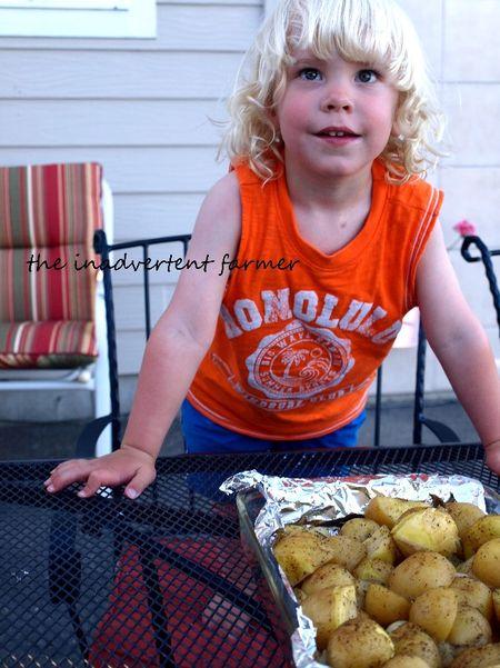 Potato dinner little boy waiting