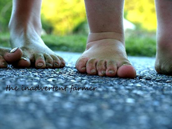 Feet bare brother sister summer