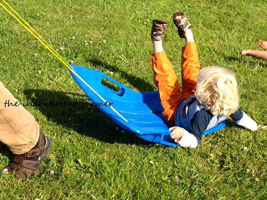 Grass sledding fall