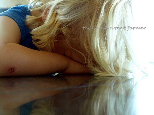 Sleeping little blond boy counter
