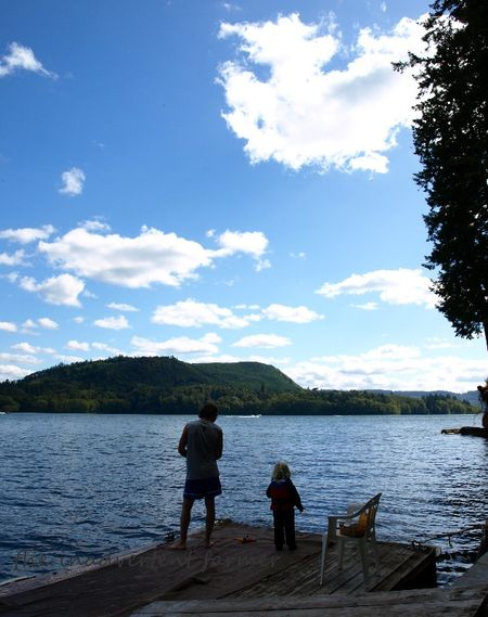 Fishing father son lake