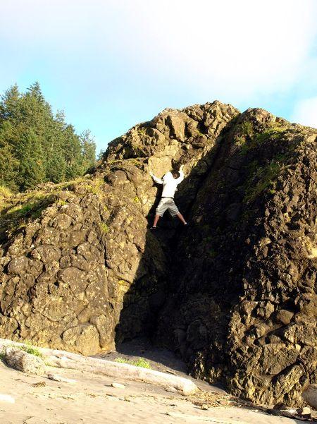 Rock climbing beach