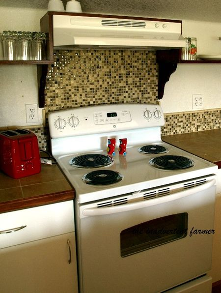Mosaic glass stone backsplash stove