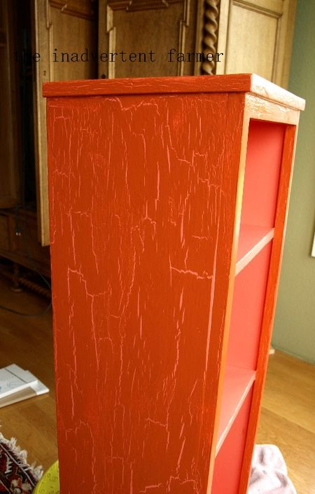 Toy cabinet orange pink crackle paint
