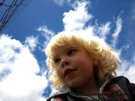 Little blond boy blue sky clouds
