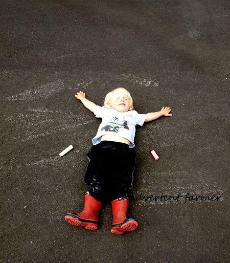 Sidewalk chalk boy