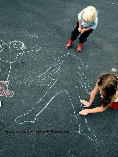 Sidewalk chalk outlines