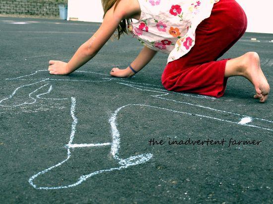 Sidewalk chalk girl