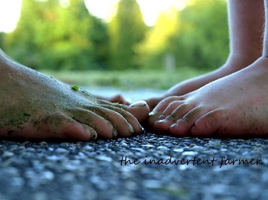 Feet bare toes touch girl boy