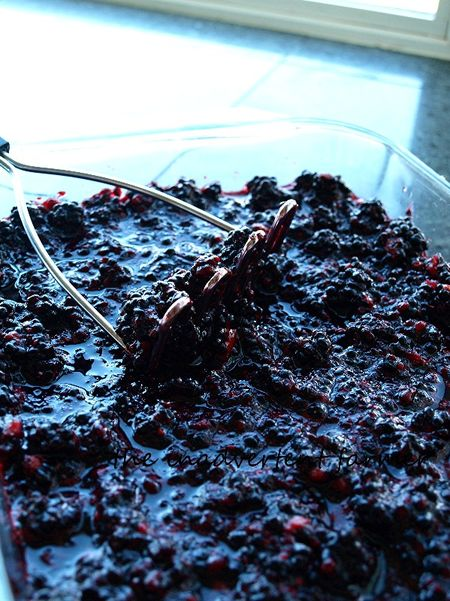 Plum berry jam crushed
