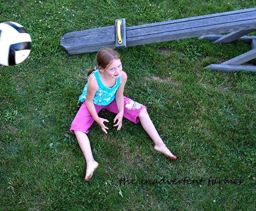 Play ball girl sit smile