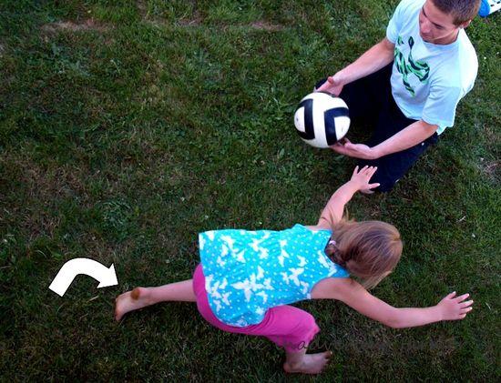 Play ball girl fall dirty feet