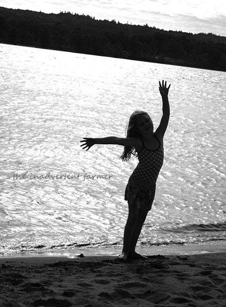 Beach girl pose black white