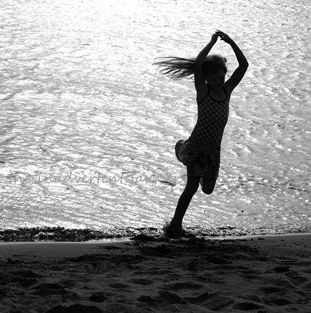 Beach girl ballerina dance black white