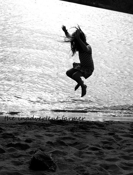 Beach dance jump girl black white