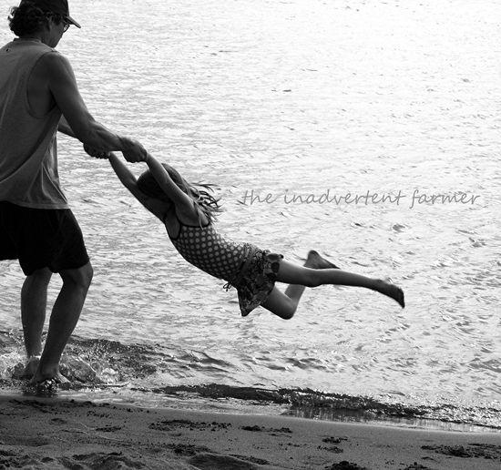 Beach girl swing black white