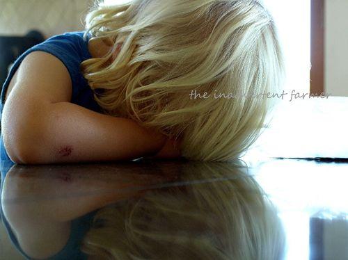 Sleeping toddler blond boy