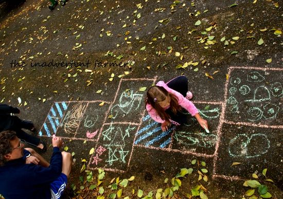 Hopscotch decorate fall leaves