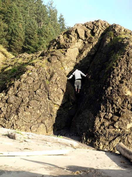 Beach rock climb