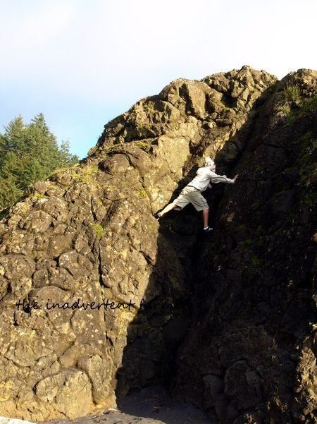 Climb rock beach