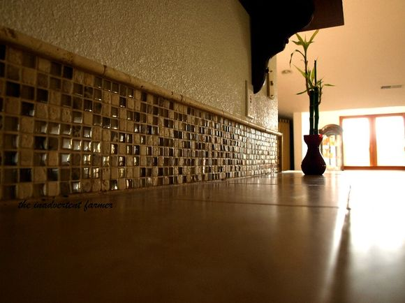 Mosaic stone backsplash