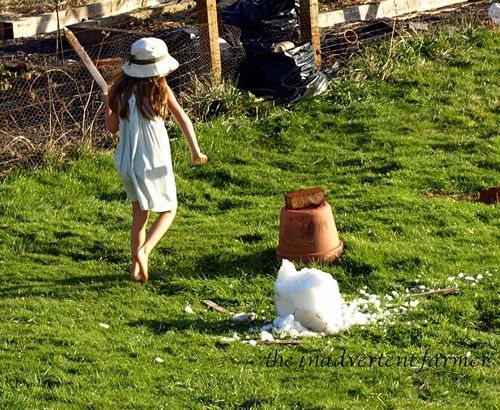 Girl winter grass