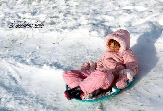 Sledding pink girl3