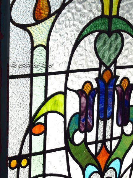 Stained glass antique window