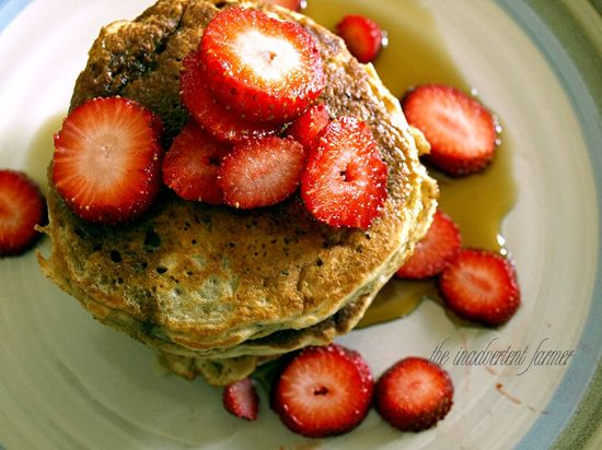 Pancake stack strawberry banana oatmeal