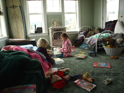 Reading in messy room