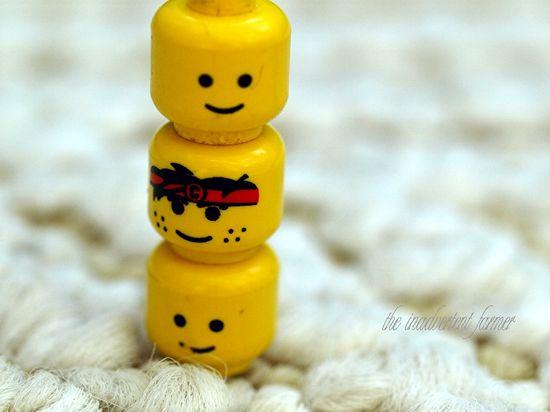 Lego head totem pole
