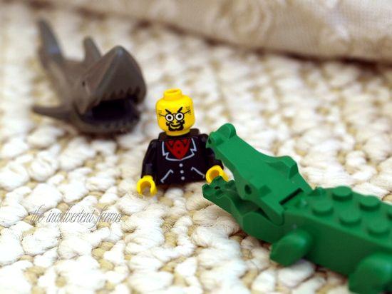 Lego alligator shark eat man