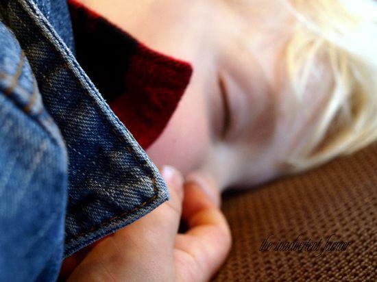 Nose picker boy sleeping