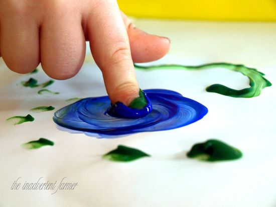 Finger paint blue