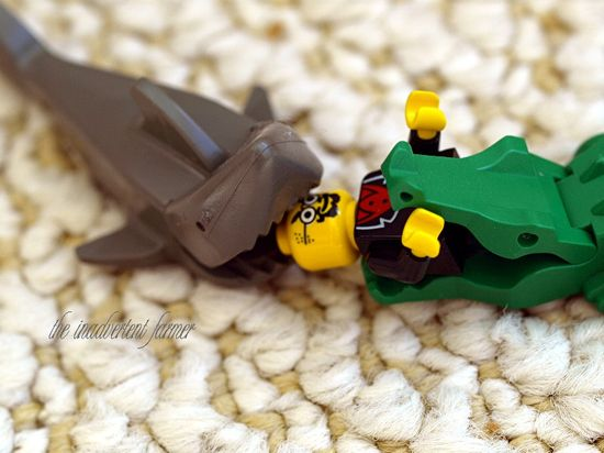 Lego man eaten shark alligator