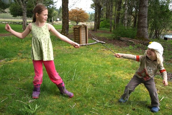 Girl boy swords