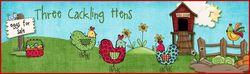 Three cackling hens