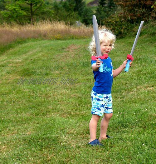 Boy swords pajamas superhero
